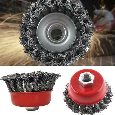 """3'' Metal Wire Wheel Cup Brush Crimped with 1/4"""" Shank For Die Grinder Drill New"""
