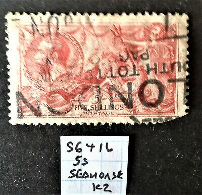 SG416  George V   5 Shillings   Seahorse  PRICE REDUCED DUE TO CONDITION  Ref K2