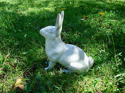 Antique ~ Cast Iron ~ Large White Rabbit ~ Doorstop / Lawn Ornament