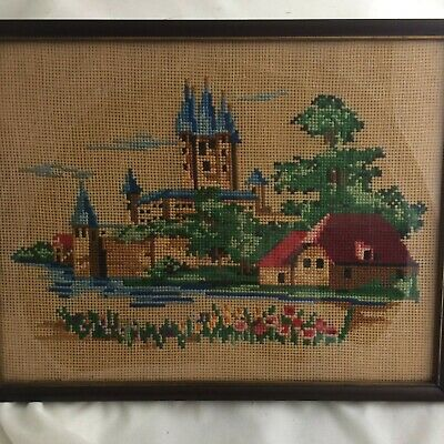 """vtg needlepoint picture BUCILLA framed countryside 14x11"""" complete FARM COT CHIC"""