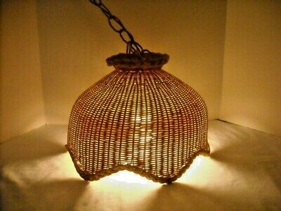 Vintage Woven Wicker Hanging Swag Corded Light Fixture 8.5' Wicker Chain ~ Works