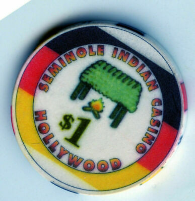 Indian 1.00 Casino Poker Chip: Seminole Indian Casino; Hollywood, Florida