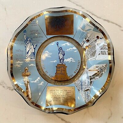 Vintage Houze Art Brand Glass Tray Statue of Liberty Ruffled Dish Made in USA