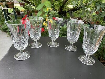 "Set (5) Waterford Crystal Lismore Footed Iced Tea Water Goblets - 6 1/2"" Mint"
