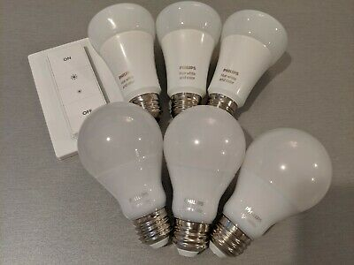Philips Hue: Three (3) Color Ambiance Gen3, Three (3) White Bulbs, Dimmer Switch