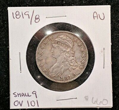 1819/8 Capped Bust Lettered Edge Silver Half Dollar 50c AU. Small 9 OV 101.