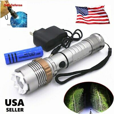 200000LM Tactical LED Flashlight Camping T6 Rechargeable Torch+18650Battery+Char