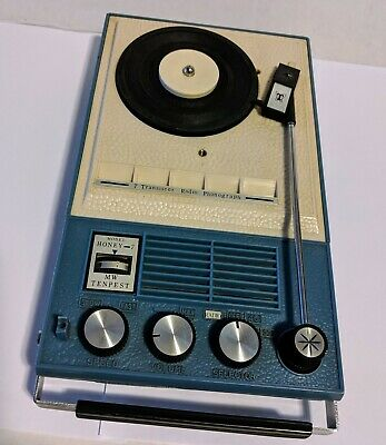 Vintage Record Player and Radio model  Tenpest Honey 7 .. Portable, Very Rare