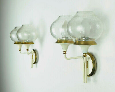 pair of fantastic 1960s mid century WALL LAMPS metal brass crackle glass shades