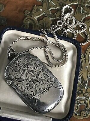 Antique Victorian Sterling Silver Vesta /Keepsake Locket Pendant Necklace