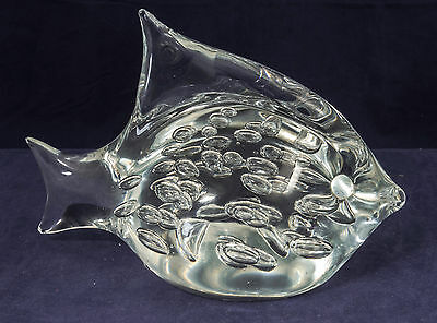 Vintage Murano Art Glass Oggetti Controlled Bubbles Fish Paperweight Marked