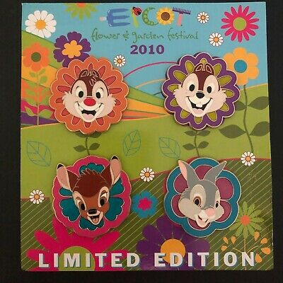 Disney Pin 2010 EPCOT Flower and Garden Festival Chip Dale Bambi Thumper LE NEW
