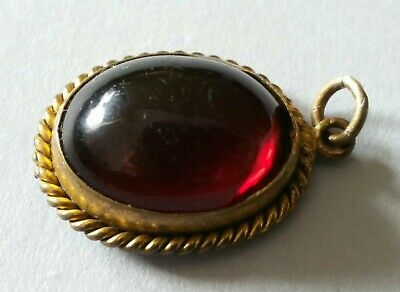 Antique Victorian Rare Garnet Gold Gilt Metal Pendant with issue.