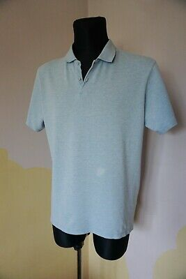 Men's COS polo shirt L  44 top light blue casual short sleeved cotton sport hot