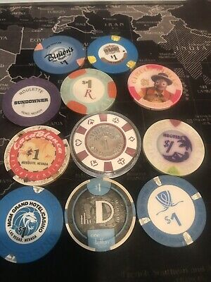 Lot 9 $1 Las Vegas NEVADA CASINO CHIPS  - most old and obsolete