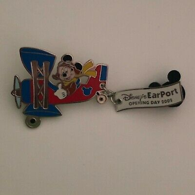 Disney Pin 2002 Mickey Mouse Flying Plane EarPort Opening Day Dangle LE