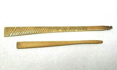 Antique (2) American Carved Bone & Wood Paper Knives Or Smoothers - Very Good!!!