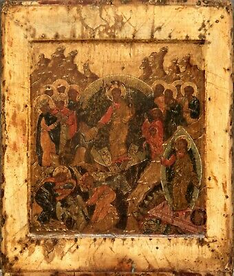 16c ANTIQUE HAND PAINTED RUSSIAN ICON OF THE CHRIST RESURRECTION KOVCHEG