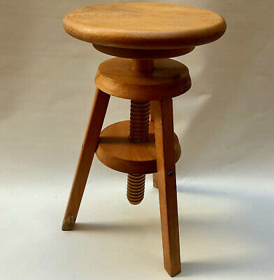 Vintage French Adjustable Height Wooden Artists Circular Stool With 3 Legs