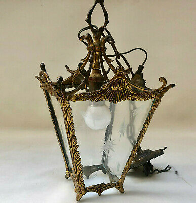 Vintage French Gold Colured Metal & Etched Glass Hall Or Porch Light Pendant