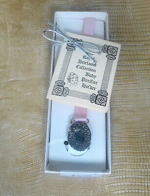 The Royal Heirloom Collection Sterling Silver Girl Pacifier Holder NIB