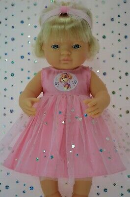 Dolls Clothes For 38cm Miniland Doll PINK SEQUIN DRESS~HEADBAND
