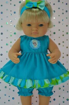 Dolls Clothes For 38cm Miniland Doll AQUA DRESS~BLOOMERS~HEADBAND