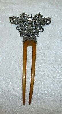 Beautiful Antique Victorian Sterling Silver Hair Comb with Cross