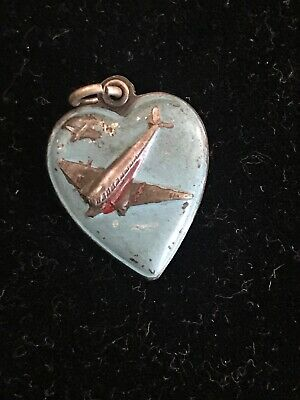 Vintage Antique Victorian Sterling Silver Puffy Heart Enamel AIRPLANES 1940s WW2