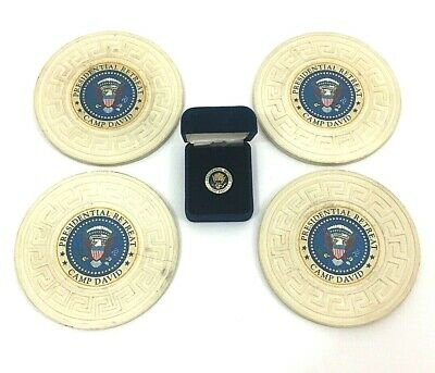 Camp David Presidential Retreat Memoribilia Coasters Tie Tack Marine Corps AUTH
