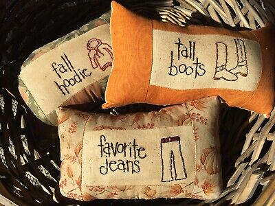Primitive Prim Bowl Fillers Stitchery Pillows Tucks Ornies Fall Jeans Hoodie