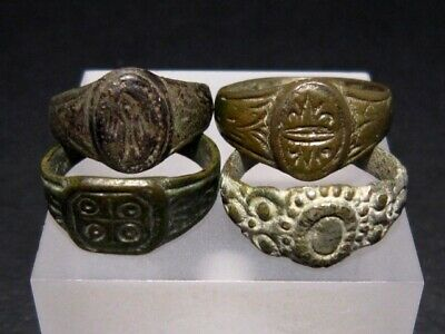 LOT of 4pcs. ANCIENT ROMAN, BYZANTINE AND MEDIEVAL FINGER RINGS+++