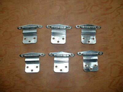 6  Vintage Art Deco Chrome Cabinet Hinges Sell as 1 Lot