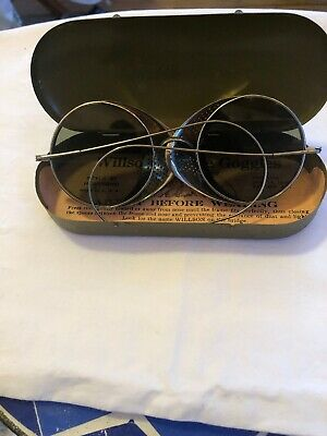 1915 Vintage Willson Steampunk Spectacles Goggles Sun Glasses w/ Tin Case Tinted