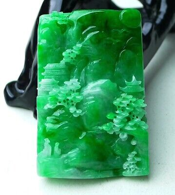 Large 3D Emerald Green Jade Jadeite Pendant Necklace Handcarved Landscape 78mm