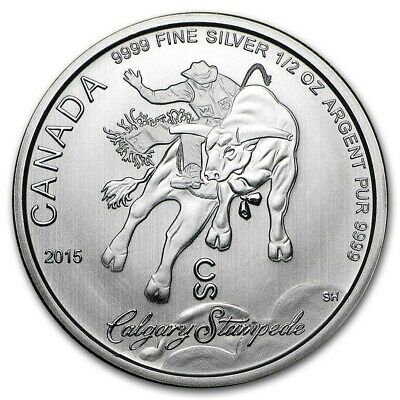 2015 CANADA $2 CALGARY STAMPEDE RODEO 1/2oz .9999 BU Silver Round Coin