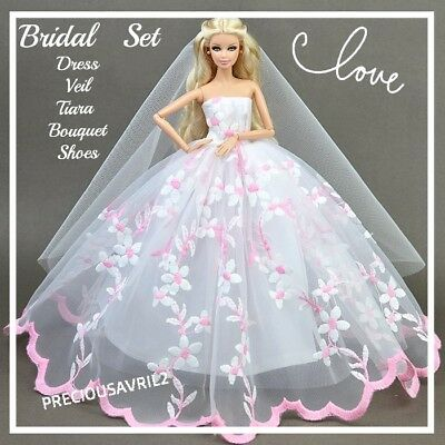 Brand new barbie doll clothes clothing outfit evening wedding dress bridal gown