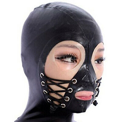 Latex Mask Rubber Gummi Cool Maske Hood Schwarz Cosplay Masquerade 0.4mm S-XXL