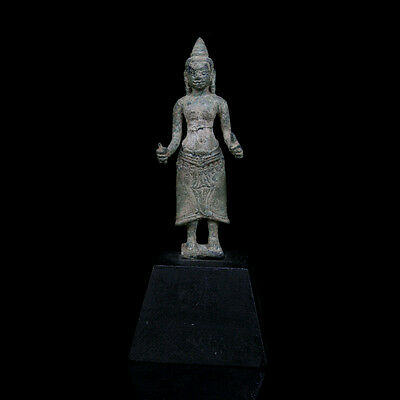 A Khmer bronze statuette of a female divinity, possibly Uma. 09182