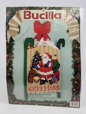 Bucilla Christmas Plastic Canvas Holiday Santa's Sled Card Holder ~ 61153 ~ New
