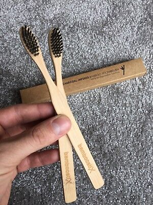 Bamboo Charcoal infused toothbrushes x2, biodegradable.