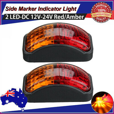 2X Waterproof Red/Amber 2LED Clearance Lights Side Marker Lamp For Trailer Truck