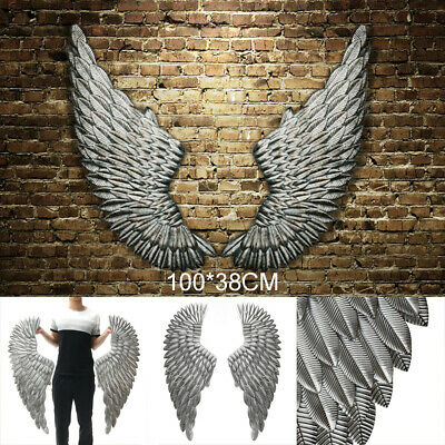 100 cm Large Antique Silver Angel Wings Iron Wall Mounted Hanging Art Home Decor