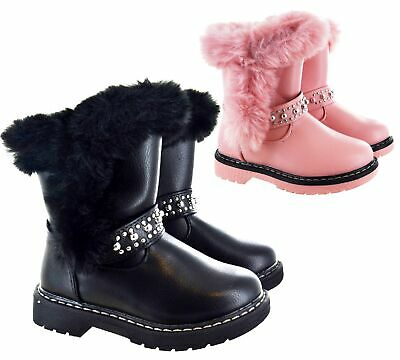 Kids Girls Childrens Ankle Warm Winter Faux Fur Lined Zip Studs Snow Boots Size