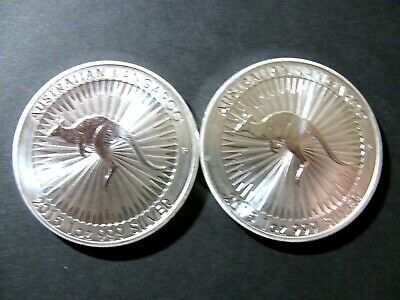 Last Lot Australian Pair 2015 $1 Of 1 Oz Silver Kangaroos 2 Oz Of 99.99 Silver