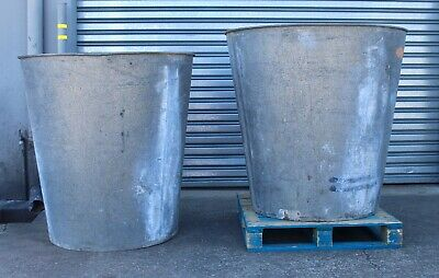 Massive Galvanised Buckets Planters Architectural Feature Military Shower Tanks