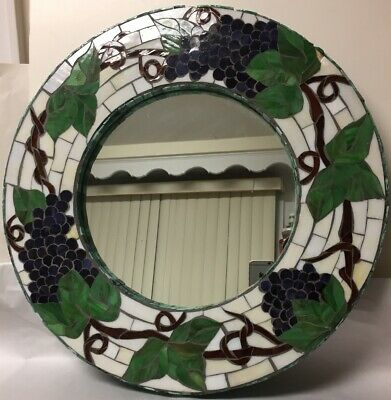Beautiful Slag Stained Glass Mosaic Mirror Grapes