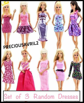 new barbie doll clothes clothing sets 3 x random outfits dress casual