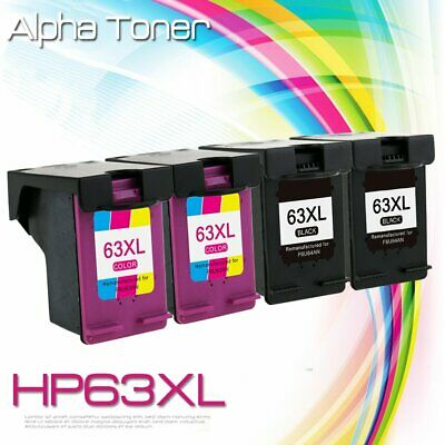 4 Combo Ink Cartridges for HP 63XL Officejet 3830 3831 3832 4650 4654 5255 5258