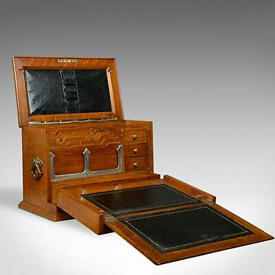 Antique Campaign Writing Box, English, Victorian, Oak, Stationery, 1887